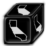 The black California die. Whenever there is a Fire Event, the active player must roll this die to see which parts of the state are burned by the fire.